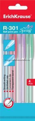 """Набор шариковых ручек """"r-301 spring"""", синие, 4 ручки, ErichKrause"""