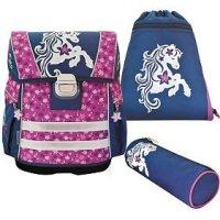 Набор: ранец + мешок для обуви + пенал-тубус, розовый с синим, Action!