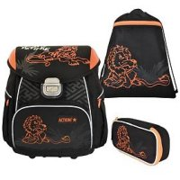 Набор: ранец + мешок для обуви + пенал, черный с оранжевым, Action!