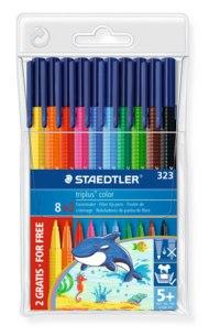 "Фломастеры "" triplus сolor"" трехгранные. набор 8+2 цвета, Staedtler"