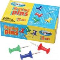 Кнопки канцелярские силовые, цветные, 36 штук, 8 мм, CENTRUM
