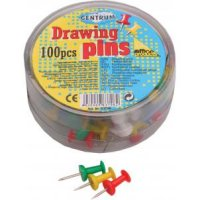 Кнопки канцелярские силовые, цветные, 100 штук, 10 мм, CENTRUM