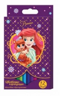 """Карандаши цветные """"disney. принцессы"""", толстые, трехгранные, 12 цветов, Disney (Дисней)"""