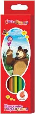 """Карандаши цветные """""""", толстые, трехгранные, 6 цветов, Маша и Медведь"""