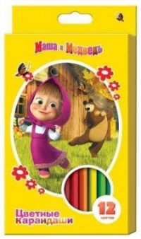 """Карандаши цветные """""""", толстые, трехгранные, 12 цветов, Маша и Медведь"""