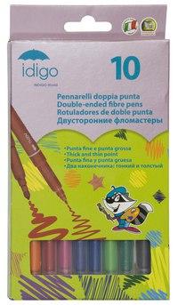 Двусторонние фломастеры с классическим и утолщенным наконечником (10 цветов), Idigo