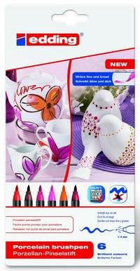Набор фломастеров для керамики, 6 цветов, 6 штук, Edding