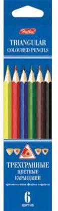 Карандаши цветные трехгранные. . 6 цветов (заточенные), Hatber