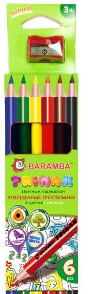 Карандаши цветные, утолщенные, 6 цветов, BARAMBA