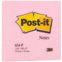 "Бумага для заметок с липким слоем ""post-it"", 76x76 мм, розовый, 100 листов, 3M"