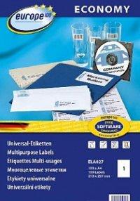 """Самоклеящиеся этикетки """"europe 100"""", универсальные, 210x297 мм, белые, 100 листов, Avery Zweckform"""