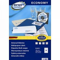 """Самоклеящиеся этикетки """"europe 100"""", универсальные, 70x37,1 мм, белые, 100 листов, Avery Zweckform"""