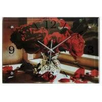 Часы настенные-картина (красные розы в вазе), 38х26 см, Эврика