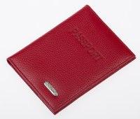 Обложка для паспорта , натуральная кожа красная, матовая, 100x135x15 мм, S.QUIRE