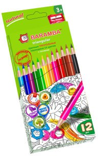 """Карандаши цветные """""""", утолщенные, с точилкой, 12 цветов, BARAMBA"""