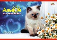 """Альбом для рисования """"голубоглазый котенок"""", 12 листов, 10 штук, АппликА"""