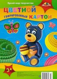 """Цветной гофрированный картон """"мишка и бабочка"""", а4, АппликА"""