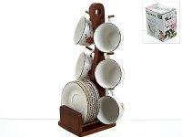 """Чайный набор """"flower"""" на деревянной подставке (12 предметов), 200 мл, ENS"""