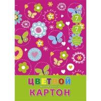 """Цветной мелованный картон """"орнамент. бабочки и цветы"""", 7 листов, 7цветов, Канц-Эксмо (Listoff, Unnika Land)"""