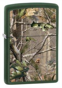 """Зажигалка  """"realtree"""" с покрытием green matte, зелёный с рисунком, матовая, 36x12x56 мм, Zippo"""