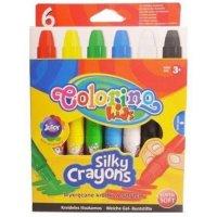 Мелки восковые супер мягкие в пластиковом держателе, 6 цветов, Colorino