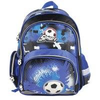 """Рюкзак для начальной школы """"вратарь"""", черно-синий, 39x29x14 см, Brauberg"""