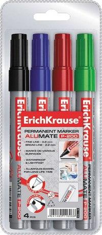 """Набор перманентных маркеров """"alumate p-200"""", 4 цвета, ErichKrause"""