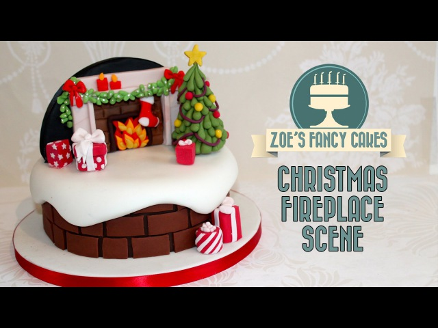 Christmas fireplace backdrop cake decorating snow theme How to Cake Decorate Tutorial