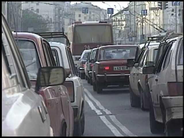 USSR; Moscow Traffic in a Volga GAZ 3102.. not a LADA!