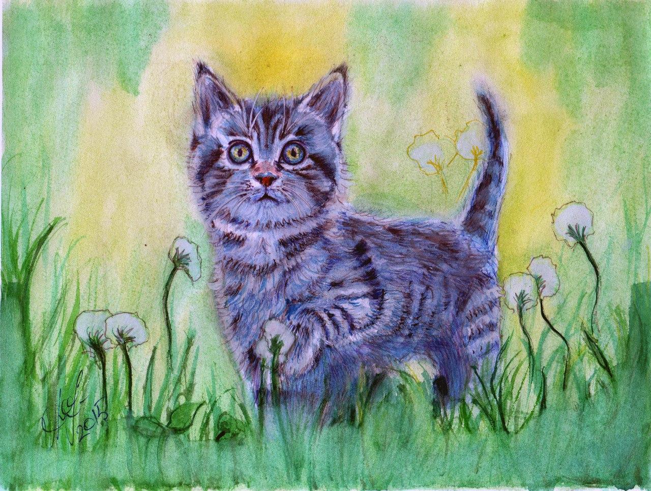 Нарисованная картинка котенка