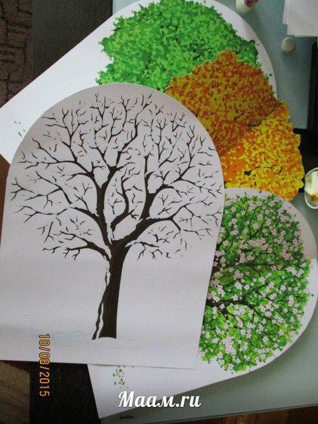 Дерево времена года  пошагово
