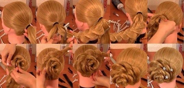 Прически для длинных волос видео своими руками