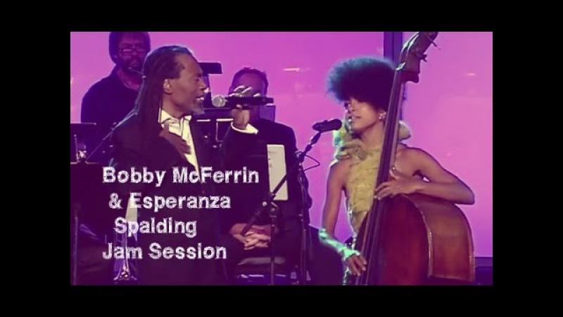 Bobby McFerrin Esperanza Spalding jam at the 53rd GRAMMY Pre Tel GRAMMYs