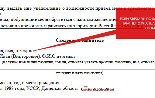 Заявления о признании носителем русского языка образец заполнения