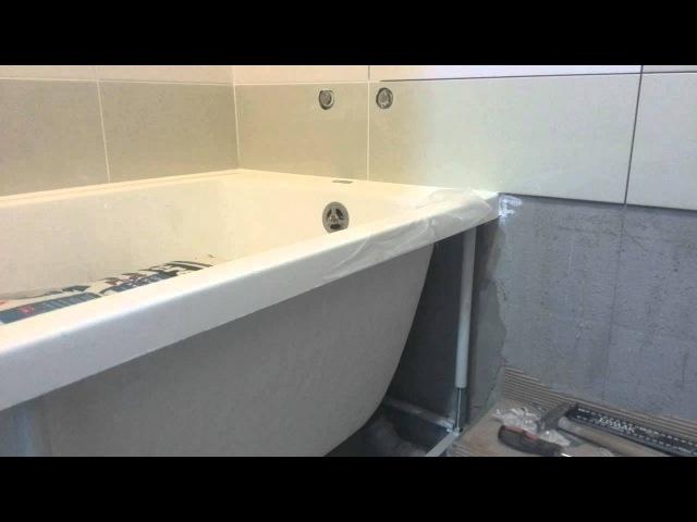 установка акриловой ванны на уголок и силикон
