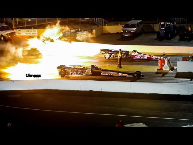 300MPH! 50 CAL JET DRAGSTER VS HOT BLADE JET DRAGSTER FOLLOWED BY FIREWORKS