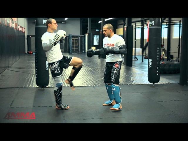 Тайский бокс с чемпионом мира - встречаем мидл-кик и атакуем бьющую ногу противника.