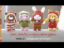 Oso, gato, chancho y conejo bebés en pijamas (crochet-amigurumi) Parte 2