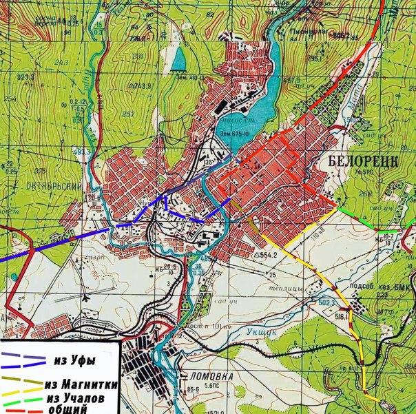 Схема проезда через Белорецк в