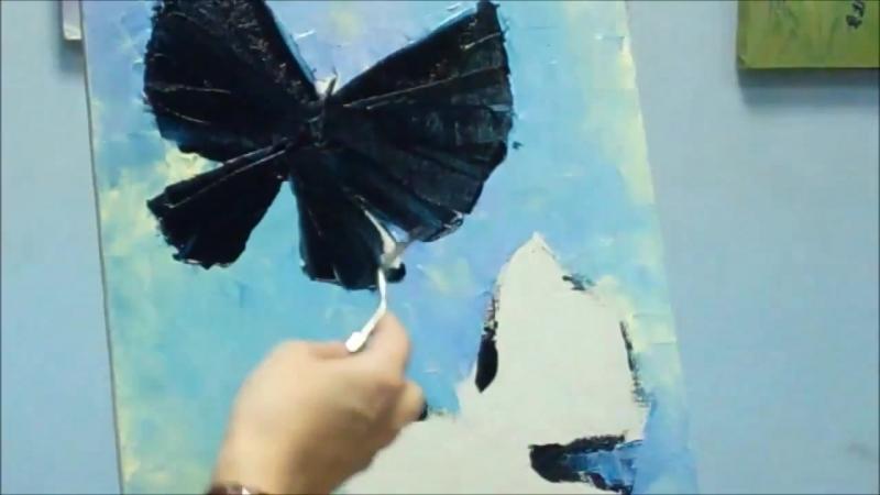 Картина Бабочки маслом мастихином. Мастер-класс Татьяны Мацик