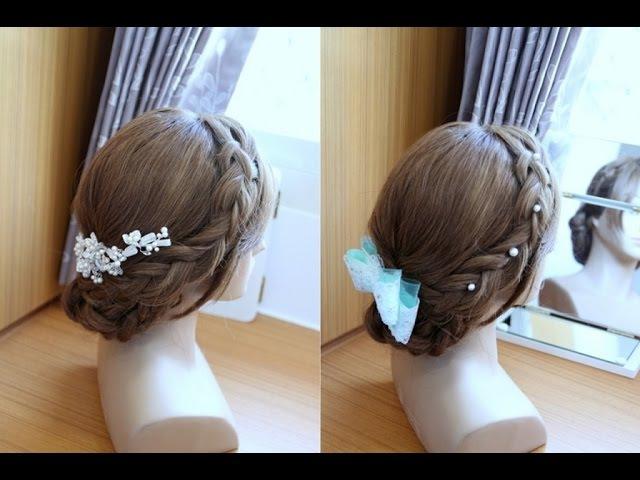 新娘三股辮盤髮 婚禮髮型教學 Wedding Prom Braided Updo Hairstyle