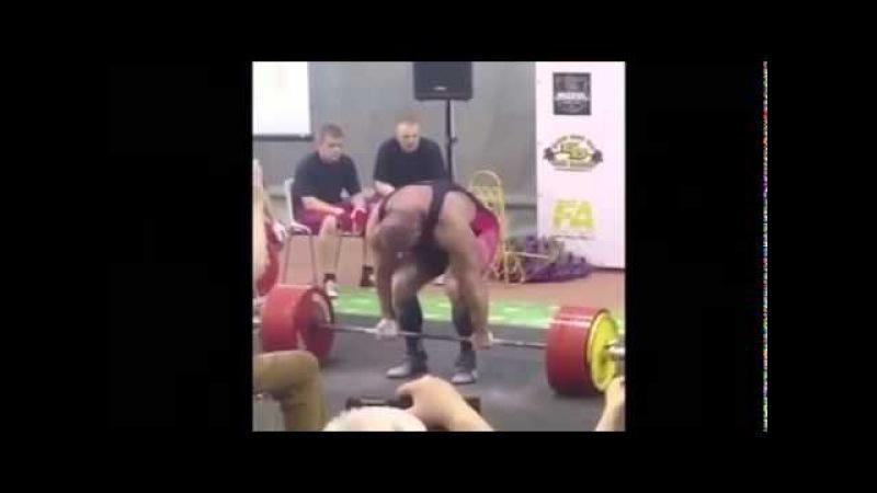 Константин Константинов, становая тяга - raw - 405 кг (без ремня) !