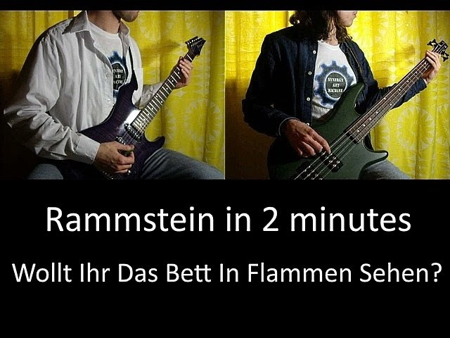 8) Rammstein - Wollt Ihr Das Bett In Flammen Sehen? (Guitar Bass lesson TAB   Cover HD)