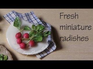 Миниатюрная еда - редиска из полимерной глины, урок