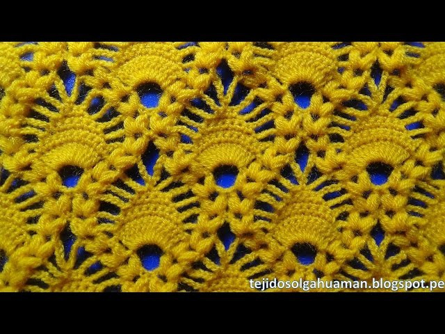 Crochet : punto combinacion de arañitas con punto garbanzo