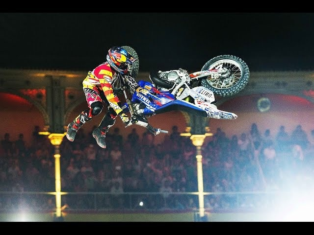 Historic Bike Flip in FMX competition Red Bull X Fighters Madrid 2014