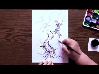 Быстрое Рисование | Тропическое Дерево | Тушь - Перо