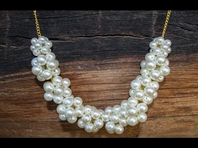 Ожерелье Из Бусин Под Жемчуг На Цепочке. Вариант 1