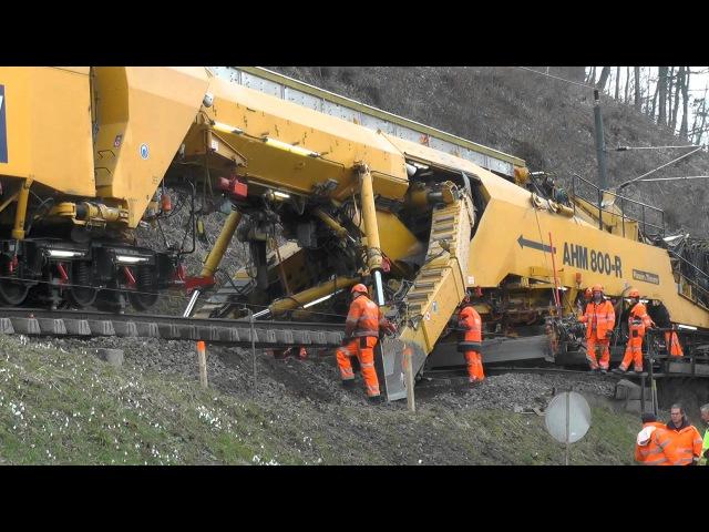 Sanierung Bahnstrecke Leibnitz Spielfeld mit Plasser Theurer Bettungsreinigungsmaschinen AHM 800