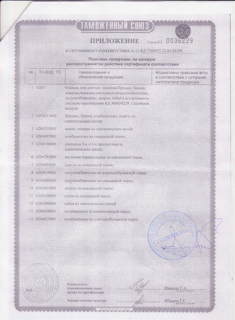 Сертификат таможенного союза на детскую одежду